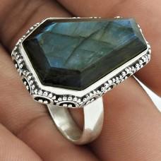 Amusable 925 Sterling Silver Labradorite Gemstone Ring Size 8 Handmade Jewelry J17