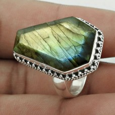 Engaging 925 Sterling Silver Labradorite Gemstone Ring Size 8 Antique Jewelry J18