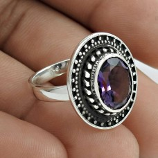 Perfect 925 Sterling Silver Amethyst Gemstone Ring Size 6.5 Handmade Jewelry J21