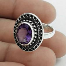 Daily Wear 925 Sterling Silver Amethyst Gemstone Ring Size 6.5 Handmade Jewelry J22
