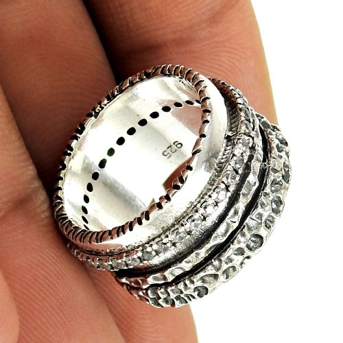 Natural CUBIC ZIRCONIA Ring Size 7.5 925 Solid Sterling Silver HANDMADE JN3