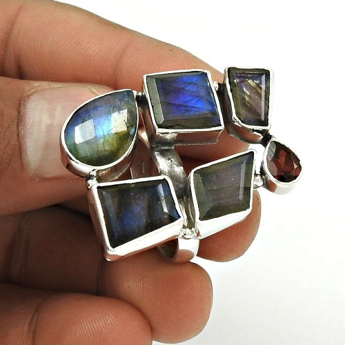 Natural LABRADORITE GARNET Stylish Ring Size 9 925 Silver HANDMADE Fine JJ25