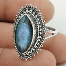 Pleasing 925 Sterling Silver Labradorite Gemstone Ring Size 7.5 Handmade Jewelry J35