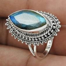 Beautiful 925 Sterling Silver Labradorite Gemstone Ring Size 8 Handmade Jewelry J36