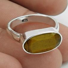 Latest Trend 925 Sterling Silver Tiger Eye Gemstone Ring Size 6 Handmade Jewelry J86