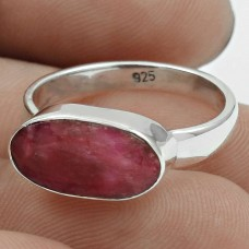 Scrumptious 925 Sterling Silver Ruby Gemstone Ring Size 7 Traditional Jewelry K6