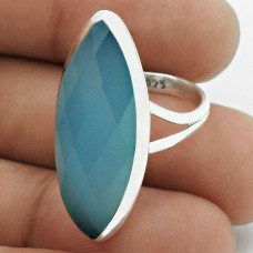 Chalcedony Gemstone Ring 925 Sterling Silver Vintage Look Jewelry WS68