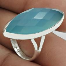 Chalcedony Gemstone Ring 925 Sterling Silver Stylish Jewelry ED68