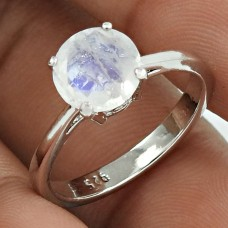 Lustrous Rhodium Plated 925 Sterling Silver Rainbow Moonstone Gemstone Ring Size 7 Ethnic Jewelry K7