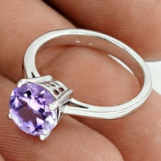 Personable Rhodium Plated 925 Sterling Silver Amethyst Gemstone Ring Size 6 Handmade Jewelry K18