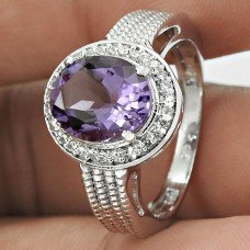 Amusable Rhodium Plated 925 Sterling Silver Amethyst, White C.Z Gemstone Ring Size 7 Ethnic Jewelry K20