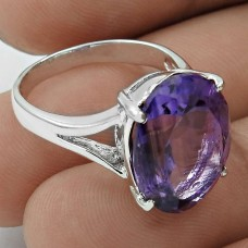 Daily Wear 925 Sterling Silver Amethyst Gemstone Ring Size 6.5 Traditional Jewelry K24