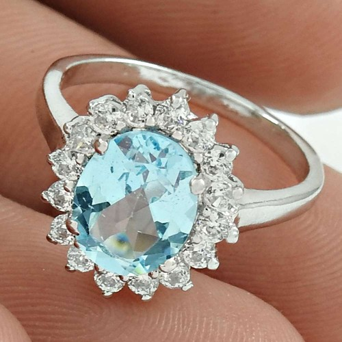Pretty Rhodium Plated 925 Sterling Silver Blue Topaz, White C.Z Gemstone Ring Size 5 Ethnic Jewelry J26