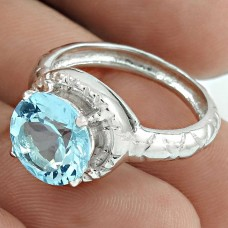 Beautiful Rhodium Plated 925 Sterling Silver Blue Topaz Gemstone Ring Size 8 Ethnic Jewelry K29