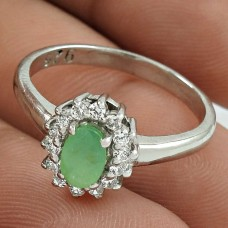 Party Wear Rhodium Plated 925 Sterling Silver Emerald, White C.Z Gemstone Ring Size 6.5 Handmade Jewelry K30