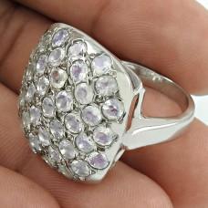 Pretty Rhodium Plated 925 Sterling Silver Rainbow Moonstone Gemstone Ring Size 9 Vintage Jewelry K31