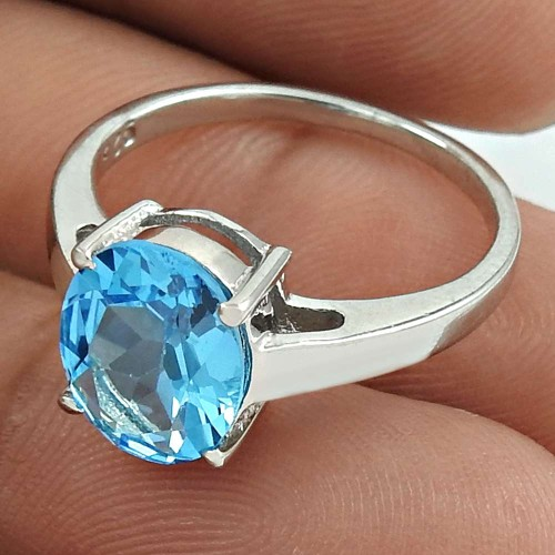 Beautiful Rhodium Plated 925 Sterling Silver Blue Topaz Gemstone Ring Size 8 Antique Jewelry K32