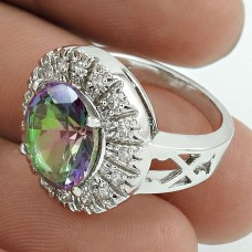 Party Wear Rhodium Plated 925 Sterling Silver Mystic, White C.Z Gemstone Ring Size 6 Handmade Jewelry K39