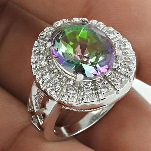 Pretty Rhodium Plated 925 Sterling Silver Mystic, White C.Z Gemstone Ring Size 6 Handmade Jewelry K40
