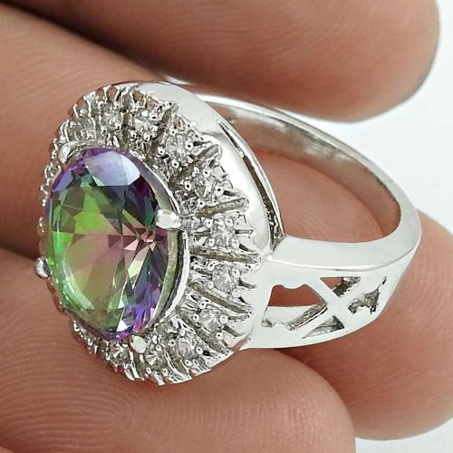 Graceful Rhodium Plated 925 Sterling Silver Mystic, White C.Z Gemstone Ring Size 6 Handmade Jewelry K43