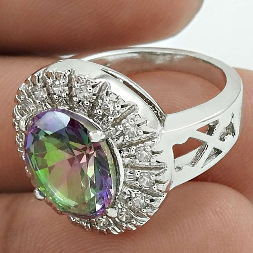 Pleasing Rhodium Plated 925 Sterling Silver Mystic, White C.Z Gemstone Ring Size 5 Antique Jewelry K45