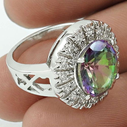 Scrumptious Rhodium Plated 925 Sterling Silver Mystic, White C.Z Gemstone Ring Size 6 Traditional Jewelry K46