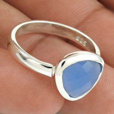 Natural CHALCEDONY HANDMADE Jewelry 925 Solid Sterling Silver Ring Size 6 OO7