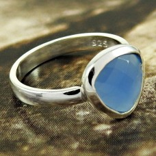 Natural CHALCEDONY HANDMADE Jewelry 925 Solid Sterling Silver Ring Size 7 PP7