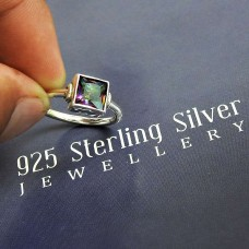 Natural MYSTIC TOPAZ HANDMADE Jewelry 925 Solid Sterling Silver Ring Size 7.5 RR3