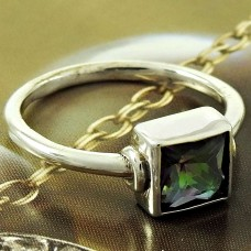 Natural MYSTIC TOPAZ Ring Size 6 925 Solid Sterling Silver HANDMADE UK5