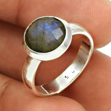 Labradorite Gemstone Ring Size 6 925 Sterling Silver Traditional Jewelry SK44