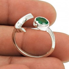Amusable 925 Sterling Silver Green Onyx Gemstone Ring Size 7 Tribal Jewelry D79