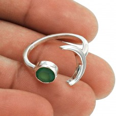 Beautiful 925 Sterling Silver Green Onyx Gemstone Ring Size 8 Vintage Jewelry E82