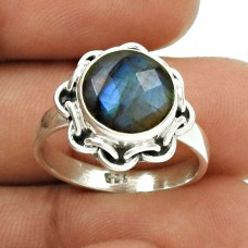 Natural LABRADORITE Ring Size 8 925 Sterling Silver HANDMADE Jewelry KK26