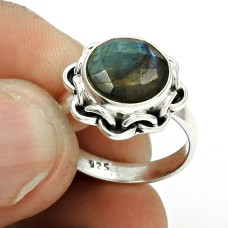 Natural LABRADORITE HANDMADE Jewelry 925 Sterling Silver Ring Size 6.5 LL26