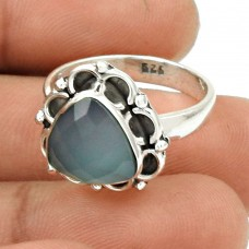 Natural CHALCEDONY Ring Size 8.5 925 Sterling Silver HANDMADE Jewelry MM26