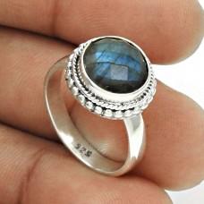 Natural LABRADORITE Gemstone Ring Size 8 925 Silver HANDMADE Jewelry GH1