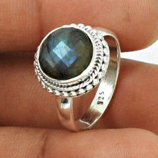 Natural LABRADORITE Gemstone HANDMADE Jewelry 925 Silver Ring Size 7.5 MN1