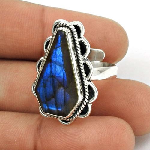 Natural LABRADORITE Gemstone HANDMADE Jewelry 925 Silver Ring Size 7 YZ1