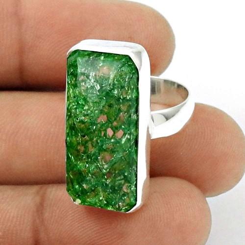 HANDMADE 925 Silver Jewelry Natural SNAKE RUTILE Gemstone Ring Size 6.5 EF11