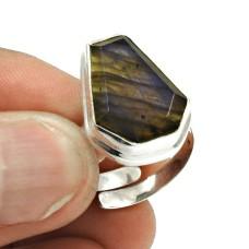 Natural LABRADORITE Gemstone Ring Size 9 925 Silver HANDMADE Jewelry CD13