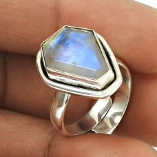HANDMADE 925 Silver Jewelry Natural RAINBOW MOONSTONE Gemstone Ring Size 6 GH13