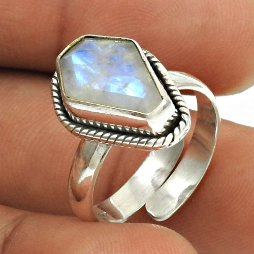 Natural RAINBOW MOONSTONE HANDMADE Jewelry 925 Sterling Silver Ring Size 6 FE14