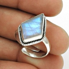 Natural RAINBOW MOONSTONE Gemstone Ring Size 9 925 Silver HANDMADE Jewelry OP14