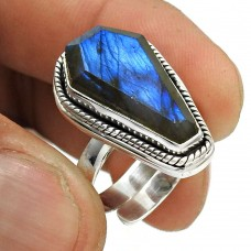 Natural LABRADORITE Gemstone HANDMADE Jewelry 925 Silver Ring Size 7 TS24