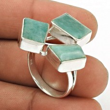 Natural AMAZONITE Gemstone HANDMADE Jewelry 925 Sterling Silver Ring Size 9 ZC7