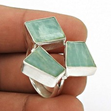 Natural AMAZONITE Gemstone HANDMADE Jewelry 925 Sterling Silver Ring Size 8 PW24