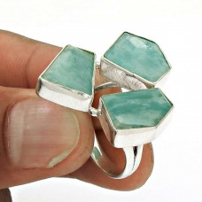HANDMADE 925 Sterling Silver Jewelry Natural AMAZONITE Gemstone Ring Size 7 OL26