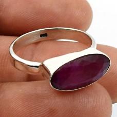 Baguette Shape Ruby Gemstone Jewelry 925 Fine Sterling Silver Ring Size 8 U28