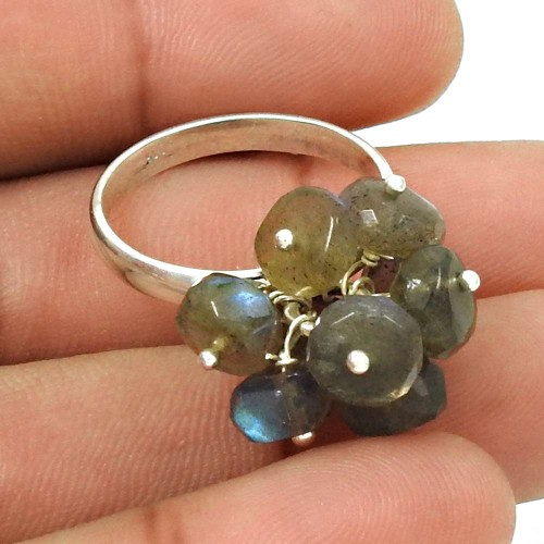 HANDMADE 925 Sterling Silver Jewelry Natural LABRADORITE Beaded Ring Size 8.5 AF19